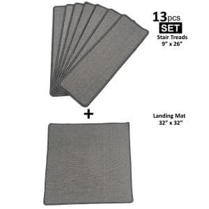 Context Escalade Gray 9 in. x 26 in. Modern Soft Non Slip Stair Treads Cover Landing Mat (Set of 13)