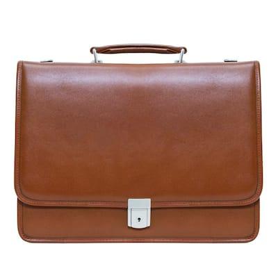 McKlein Lexington 15 in. Brown Top Grain Cowhide Leather Flapover Double Compartment Briefcase