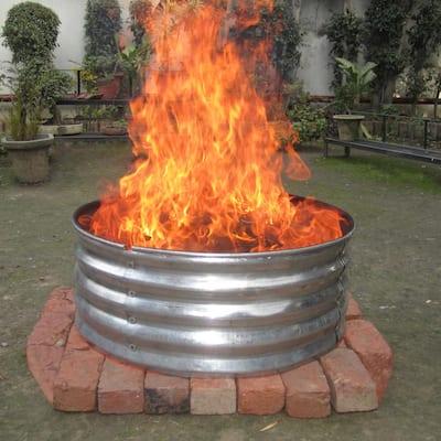 30 in. Round Galvanized Steel Fire Pit Ring