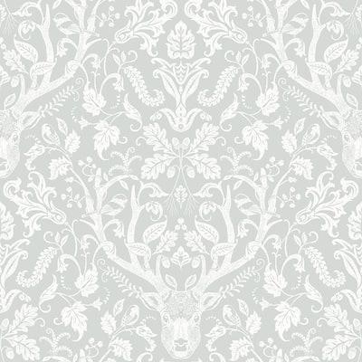 Kiwassa Grey Antler Damask Grey Wallpaper Sample