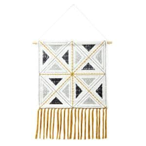 Dynamic Diamond 21.5 in. x 33 in. Ivory/Black/Yellow/Gray Embroidered Woven Wall Hanging