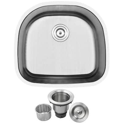 Haven Undermount 16-Gauge Stainless Steel 23.5 in. Single Basin Kitchen Sink with Basket Strainer
