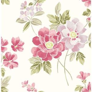 Claressa Pink Floral Pink Wallpaper Sample