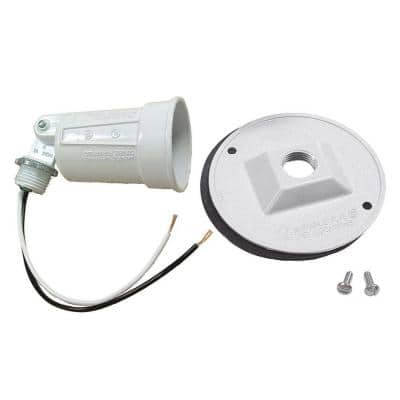 """75-150W PAR38 White Lampholder and 4"""" Round Cover Combination"""