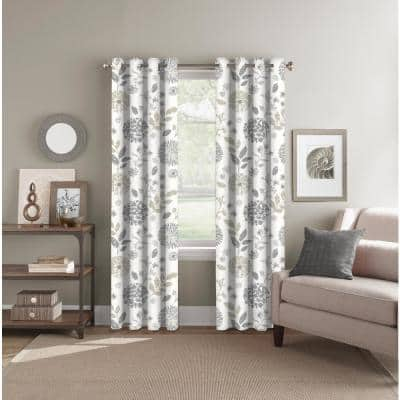 Neutral Floral Polyester 52 in. W x 84 in. L Back Tab Room Darkening Curtain Panel
