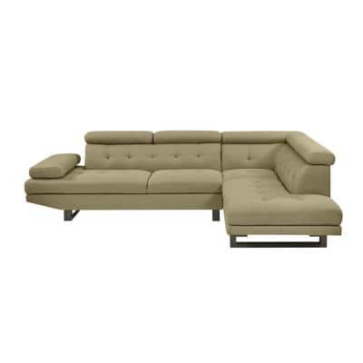 Phoebe 2-Piece Barley Tan Linen-Like Fabric 4-Seat L-Shaped Right Facing Sectional