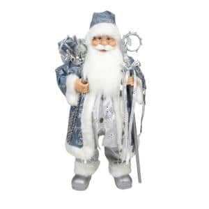 25 in. Ice Palace Standing Santa Claus in Blue and Silver Holding A Staff and Bag Christmas Figure