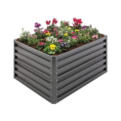 20 cu. ft. Gray Steel Double Height Rectangle Garden Plant Bed