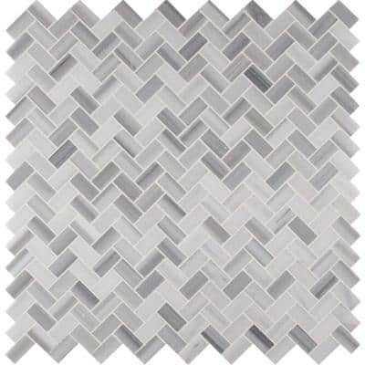 Bergamo Herringbone 12 in. x 12 in. x 10 mm Polished Marble Mesh-Mounted Mosaic Floor and Wall Tile (1 sq. ft.)