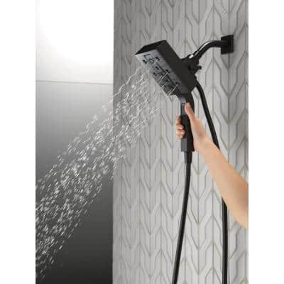 In2ition Two-in-One 4-Spray 4.5 in. Dual Wall Mount Fixed and Handheld H2Okinetic Shower Head in Matte Black