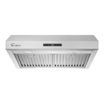 30 in. 400 CFM Ductless Kitchen Under Cabinet Range Hood in Stainless Steel with Duct and LED Lights
