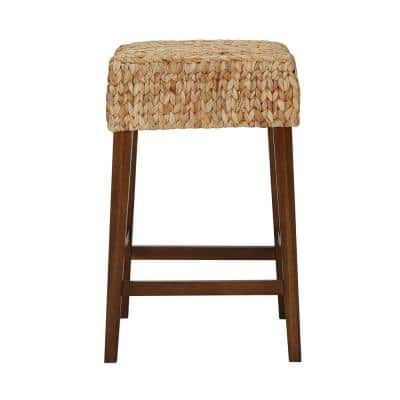 Walnut Finish Backless Counter Stool with Woven Seat (16.14 in. W x 25.2 in. H)
