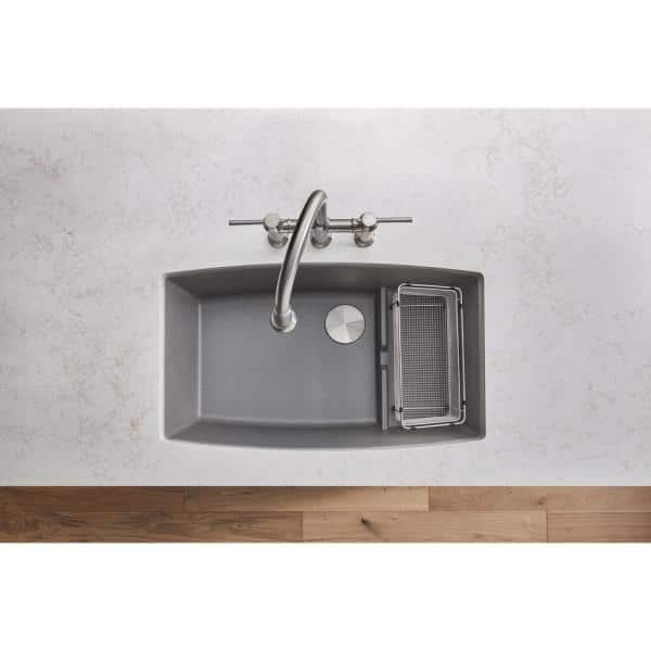Blanco Performa Cascade Undermount Granite Composite 32 In Single Bowl Kitchen Sink With Mesh Colander Metallic Gray 440067 The Home Depot
