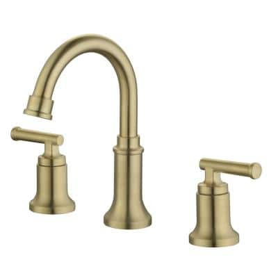 Oswell 8 in. Widespread 2-Handle High-Arc Bathroom Faucet in Matte Gold