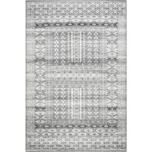 Melina Grecian Distressed Gray 4 ft. x 6 ft. Area Rug