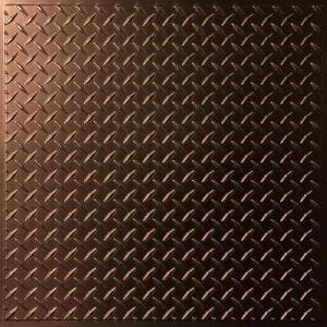 Diamond Plate Faux Bronze 2 ft. x 2 ft. Lay-in or Glue-up Ceiling Panel (Case of 6)