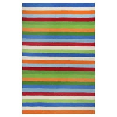 Girls Stripe Blue/Red 3 ft. x 5 ft. Area Rug