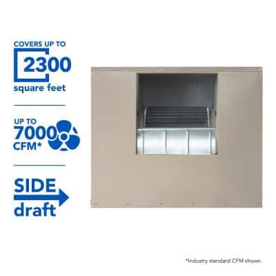 7000 CFM 2-Speed Side-Draft Wall/Roof 12 in. Media Evaporative Cooler for 2300 sq. ft. (Motor Not Included)