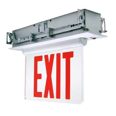 Adjustable Panel Integrated LED Edge Lit Exit Sign, Red Letters, White