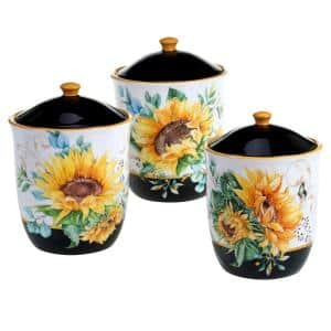 Sunflower Fields 3-Piece Seasonal Multicolored Earthenware 96, 74, 52 oz. Canister Set