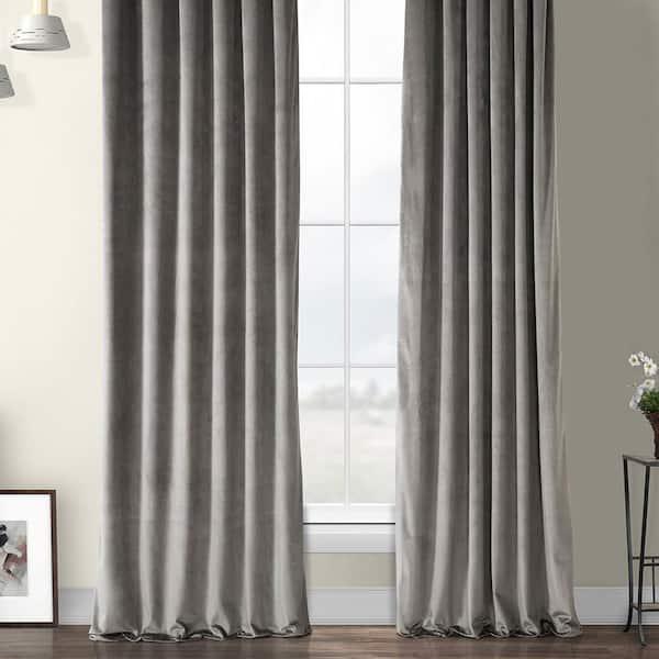 Exclusive Fabrics Furnishings Destiny Grey Velvet Rod Pocket Room Darkening Curtain 50 In W X 108 In L Vpyc 161213 108 The Home Depot