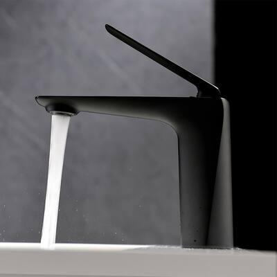 Single Hole 1-Handle Bathroom Faucet Solid Brass Vanity Sink Faucets in Matte Black