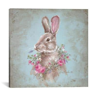 """""""Bunny With Wreath"""" by Debi Coules Canvas Wall Art"""