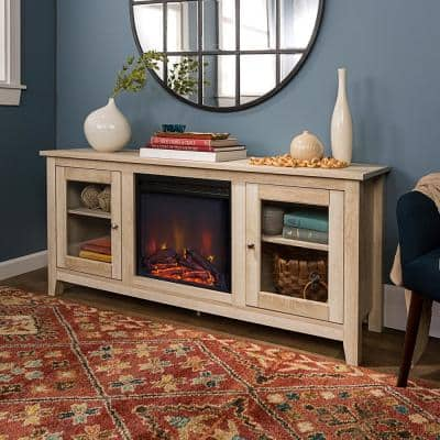 58 in. Traditional Electric Fireplace TV Stand - White Oak