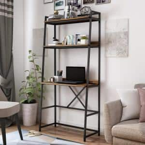 Sorvino 36 in. Matte Black Coating and Brown Writing Desk with Bookcase