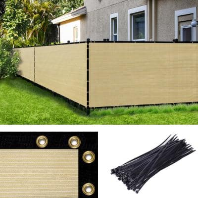 6 ft. H x 50 ft. W Beige Fence Outdoor Privacy Screen with Black Edge Bindings and Grommets