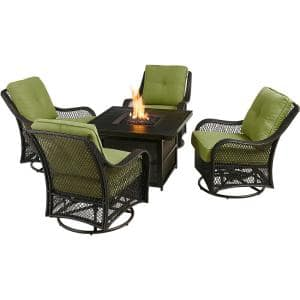 Orleans 5-Piece Aluminum Patio Fire Pit Set w/ Green Cushions, 4 Wicker Rocker Chairs, 38 in. Gas Fire Pit Table w/ Lid