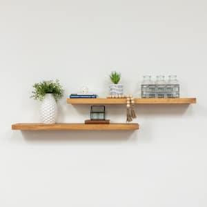True Floating 5.5 in x 36 in x 2 in Walnut Pine Floating Decorative Wall Shelf with Brackets (Set of 2)