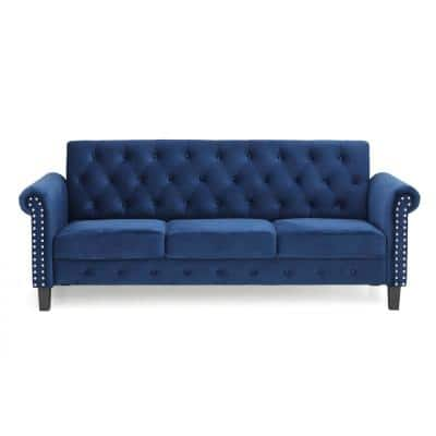 Bastia 68.9 in. Navy Velvet 3-Seater Chesterfield Sofa with Round Arms