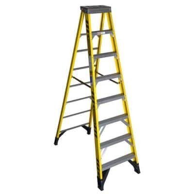 8 ft. Yellow Fiberglass Step Ladder (12 ft. Reach Height) with 375 lbs. Load Capacity Type IAA Duty Rating