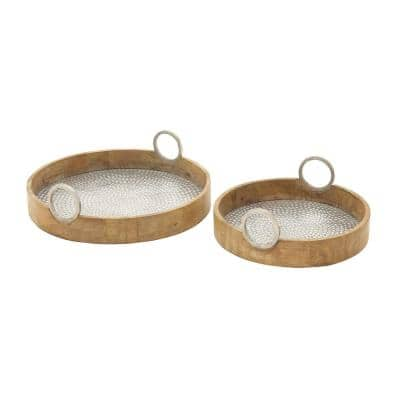 Rustic Wood and Aluminum Round Trays (Set of 2)