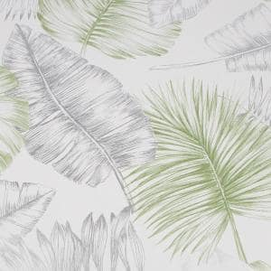 Daintree Green and Silver Strippable Removable Wallpaper