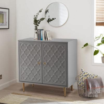 2-Door Gray Pattern High Gloss with Stainless Steel Brushed Golden Leg Accent cabinet