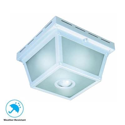 360° Square 4-Light White Motion Sensing Outdoor Flush Mount