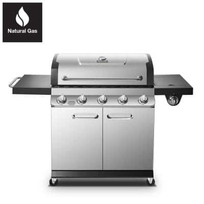 Premier 5-Burner Natural Gas Grill in Stainless Steel with Side Burner