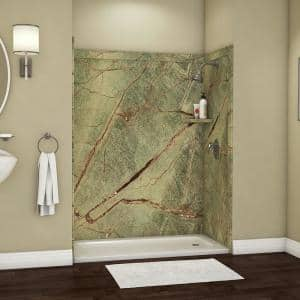 Royale 36 in. x 60 in. x 80 in. 11-Piece Easy Up Adhesive Alcove Bathtub/Shower Wall Surround in Rainforest
