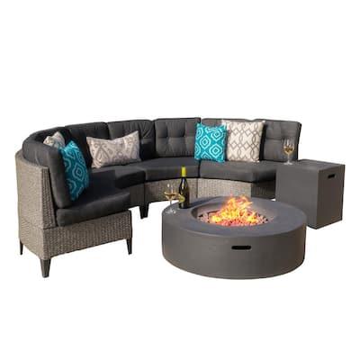 Mixed Black 6-Piece Wicker Patio Fire Pit Conversation Set with Dark Gray Cushion