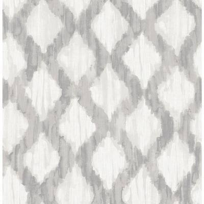 Grey Floating Trellis Grey Wallpaper Sample