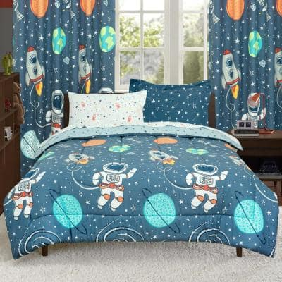 Space Explorer Astronauts, Planets, Stars Super Soft Blue Twin Bed in a Bag with Reversible Comforter and Sheet Set