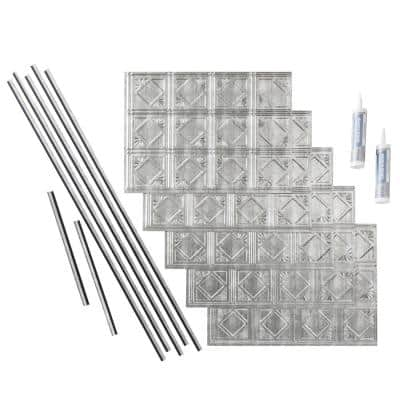 Traditional 4 18 in. x 24 in. Crosshatch Silver Vinyl Decorative Wall Tile Backsplash 15 sq. ft. Kit
