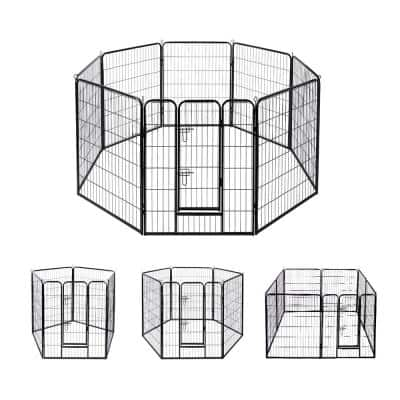 Metal Foldable Wireless Pet Fence Playpen for Dogs (8-Pieces)