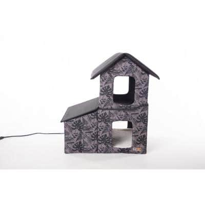 Outdoor Heated 2-Story Kitty House with Dining Room Gray Leaf Print Medium