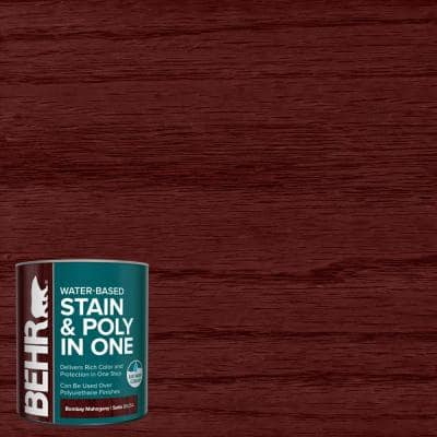 1 qt. #TIS-354 Bombay Mahogany Satin Semi-Transparent Water-Based Interior Stain and Poly in One