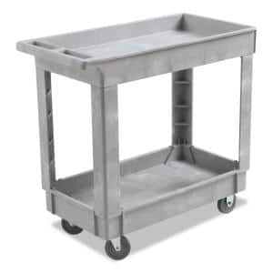 16 in. W x 34d Gray Resin 2-Shelf Utility Cleaning Cart with Swivel Casters, 1 Cart/Count