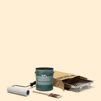 1 gal. #YL-W03 Honied White Extra Durable Semi-Gloss Enamel Interior Paint & 5-Piece Wooster Set All-in-One Project Kit