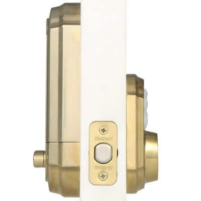 Z-Wave SmartCode Lifetime Polished Brass Single Cylinder Electronic Deadbolt Featuring SmartKey Security